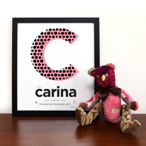 Personalised Baby Initial Name Wall Print