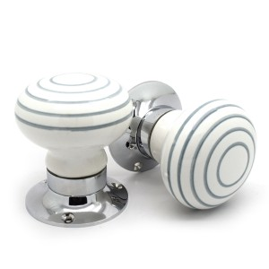 White & Grey Striped Mortice Door Knobs