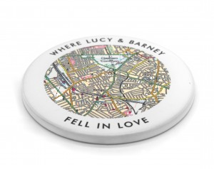 Personalised Love Wording Postcode Map Coaster