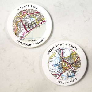 Personalised Love Wording Postcode Map Coasters