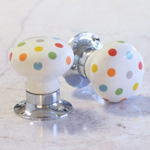 Inspire A Playful Tone With Our Multi-Colour Polka Dot Spots Ceramic Mortice Door Knobs