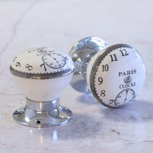 Sophisticated Timeless Clock Face Mortice Door Knobs Pair & Matching Knob